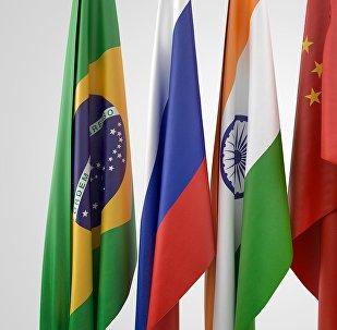 Drapeaux des BRICS (Brésil, Russie, Inde, Chine et Afrique du Sud)
