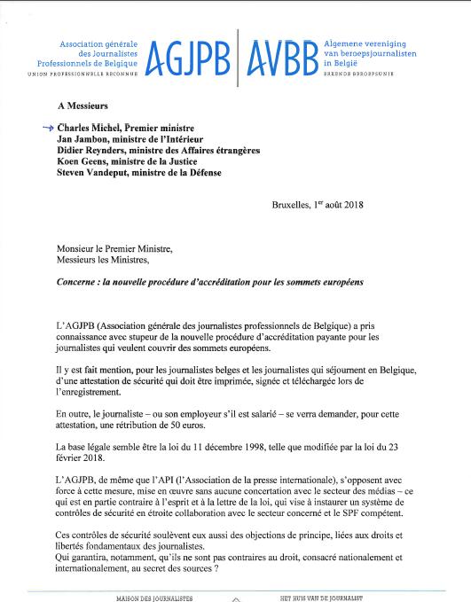 La lettre que les responsables de l'organisation ont adressée à plusieurs membres de l'exécutif, dont le Premier ministre Charles Michel.
