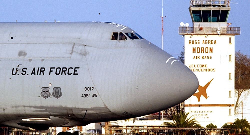 US Air Force C-5 Galaxy is stationed at the air base of Moron de la Frontera in Sevilla