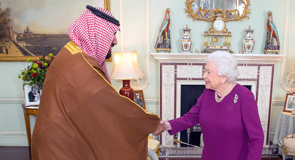 Mohammed ben Salmane avec la reine Elisabeth