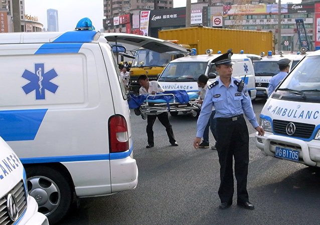 Ambulance en Chine. Photo d'archive