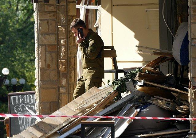 Le lieu du meurtre de Alexandre Zakharchenko, Donetsk (RPD)