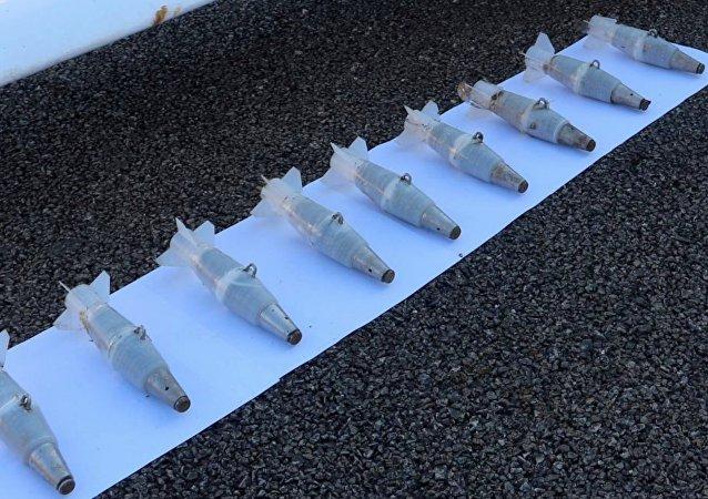 Des munitions d'un drone utilisé pour attaquer un site militaire russe en Syrie