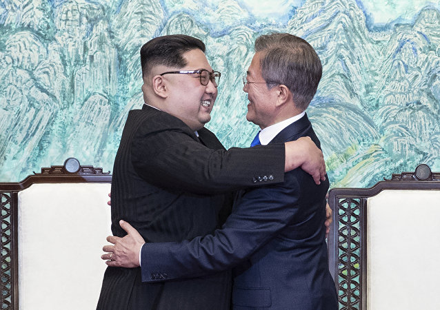 Kim Jong-un et Moon Jae-in, avril 2018