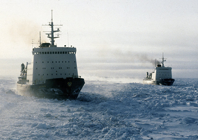 Soviet ice-breakers in the Chukchee Sea, the Arctic Ocean