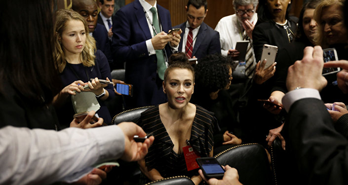 Actress Alyssa Milano is seen ahead of a Senate Judiciary Committee hearing of Dr. Christine Blasey Ford at the Capitol Hill in Washington, U.S., September 27, 2018