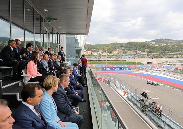 Vladimir Poutine lors de l'étape russe de Formule 1
