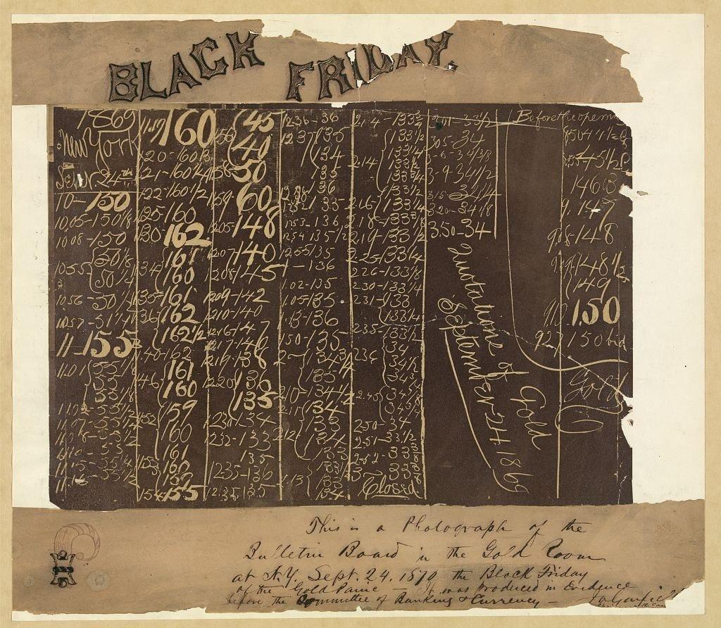 Un tableau de 1869 montrant la chute du prix de l'or