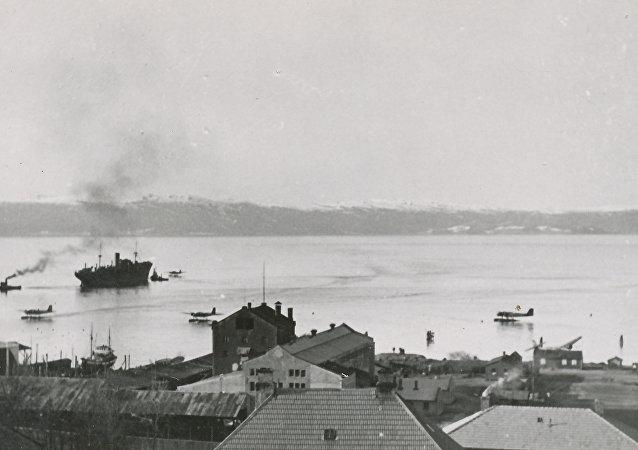 Le fjord de Trondheim près d'Ilsvika pendant la Seconde Guerre mondiale