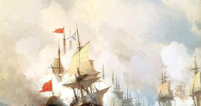 La Bataille de Tchesmé par Ivan Aïvazovski.