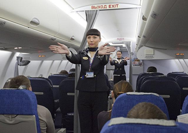 Une hôtesse de l'air (Image d'illustration)