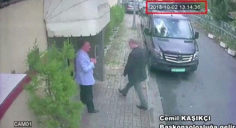 Une image qui montrerait le journaliste Jamal Khashoggi à l'entrée du consulat d'Arabie saoudite à Istanbul