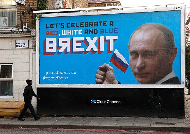 Campagne de célébration du Brexit: Londres orné de portraits de Poutine