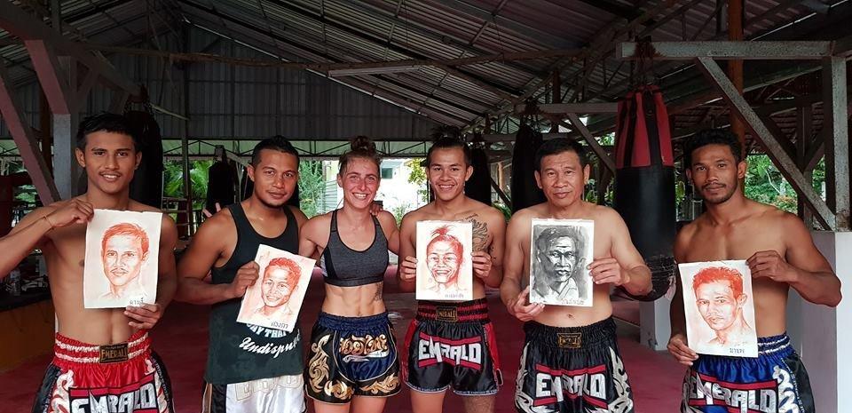Agnès Géminet au camp de boxe thaï