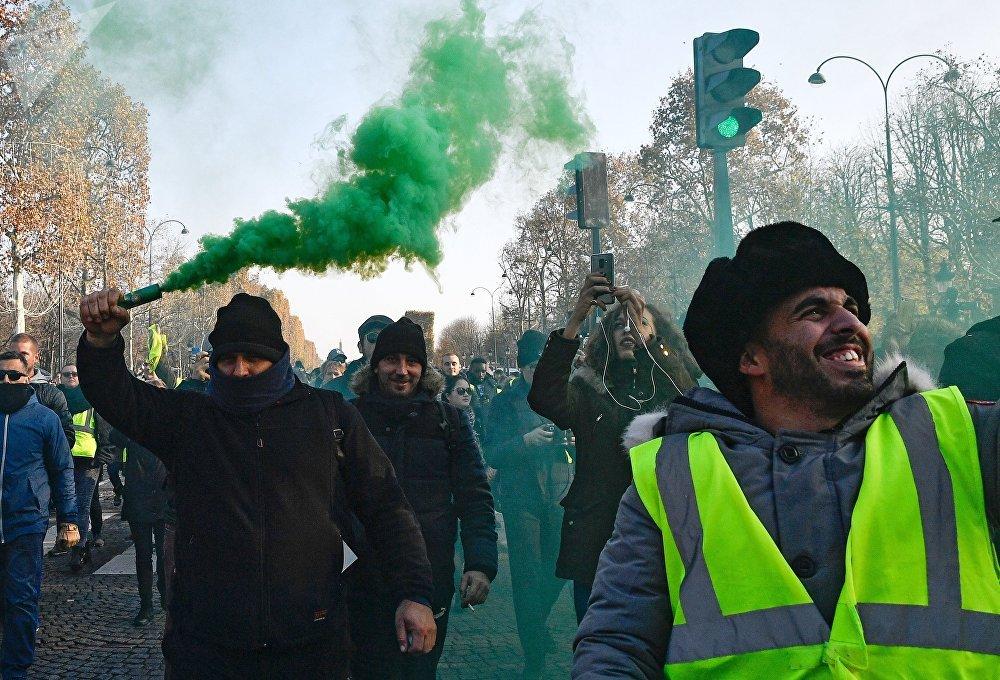 Lors des protestations des «gilets jaunes» en France