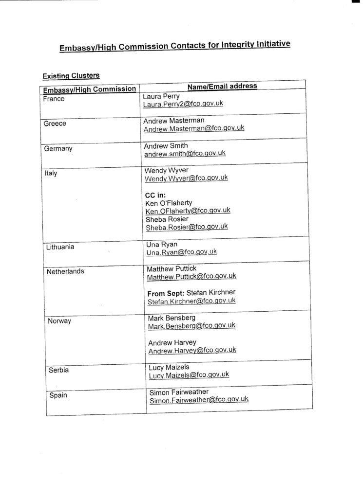 Une capture d'écran d'une liste de contacts secrets dans les ambassades britanniques fournie par Anonymous