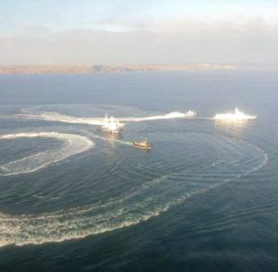 Des navires ukrainiens qui ont violé l'espace maritime russe près de la Crimée