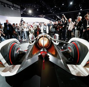The rear of the Chevorlet Chaparral 2X Vision Gran Turismo concept car at its world debut at the Los Angeles Auto Show in California, November 19, 2014