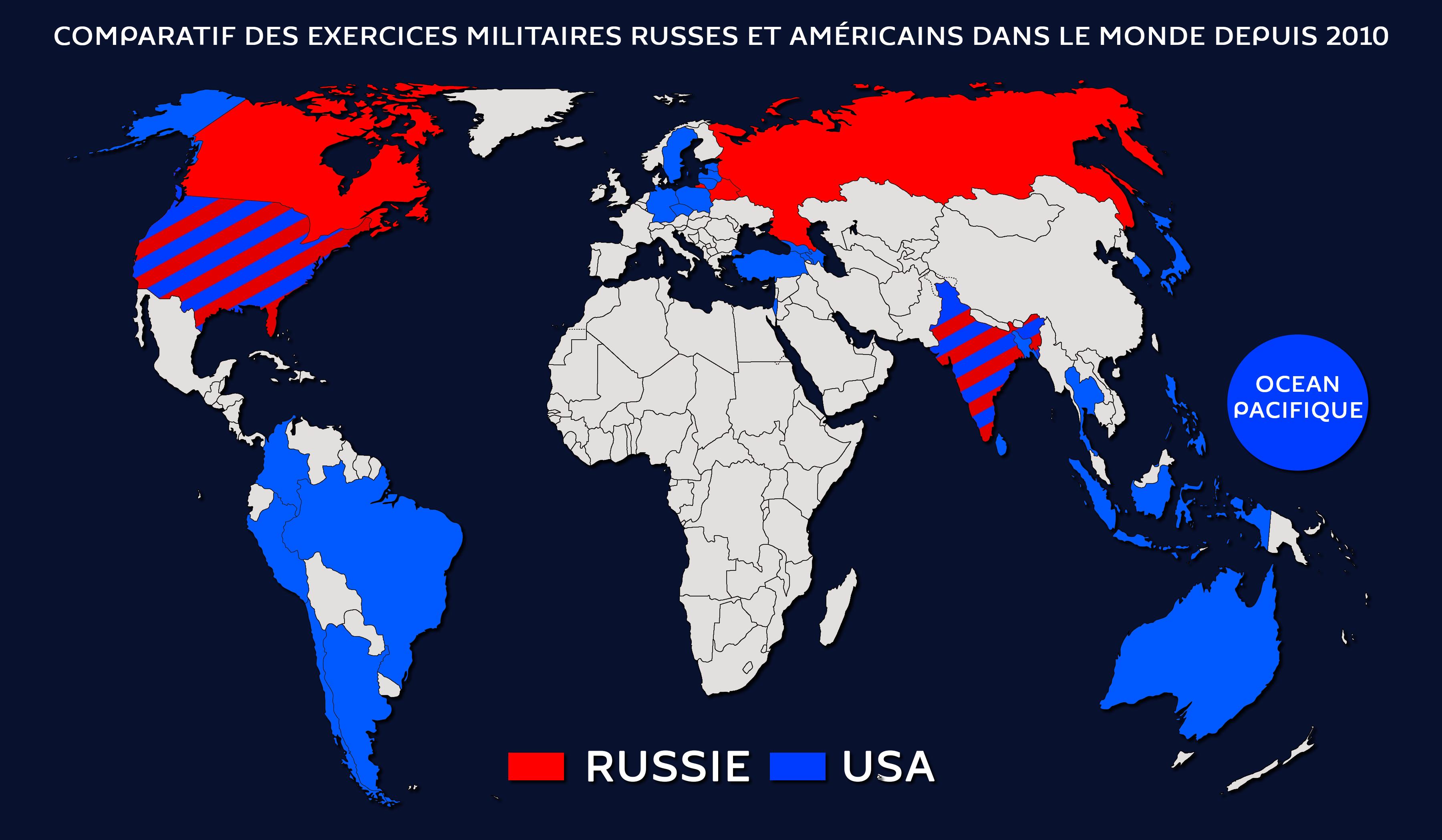 Carte des exercices militaires russes et américains dans le monde depuis 2010