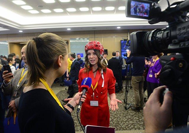 20 декабря 2018. Журналисты в Центре международной торговли на Красной Пресне перед началом ежегодной большой пресс-конференции президента РФ Владимира Путина.
