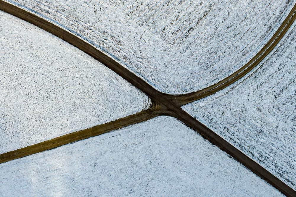 Des champs enneigés aux alentours de Simbach, dans le sud de l'Allemagne