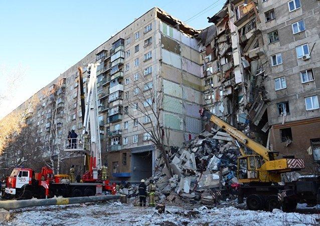 L'immeuble de Magnitogorsk touché par une explosion de gaz le 31 décembre 2018