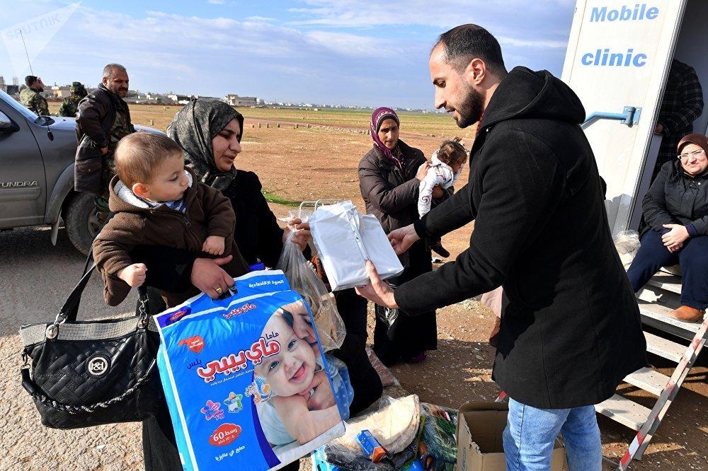 Distribution de l'aide humanitaire
