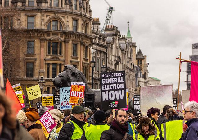 Une manifestation des Gilets jaunes à Londres