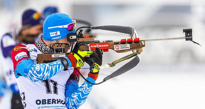 Alexander Loginov lors du sprint 10 km à Oberhof
