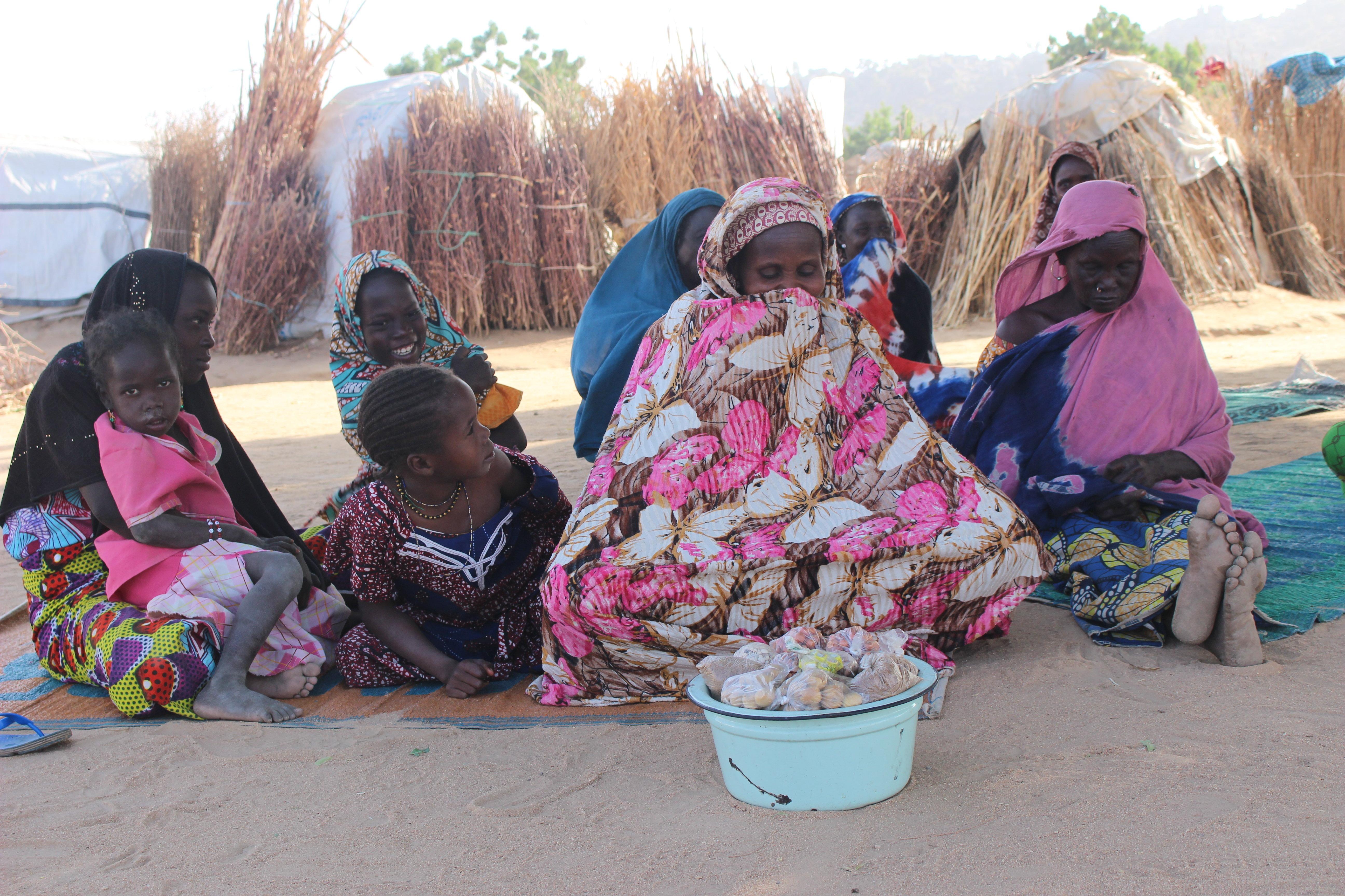 Aissa, assise derrière sa marchandise et en compagnie de ses enfants dans un camp de déplacés, à Mémé, à l'Extrême-Nord du Cameroun