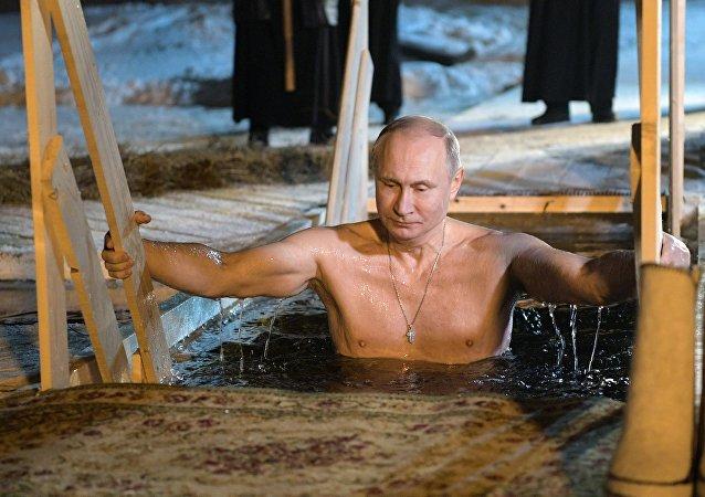 Poutine a plongé dans l'eau glacée, janvier 2018