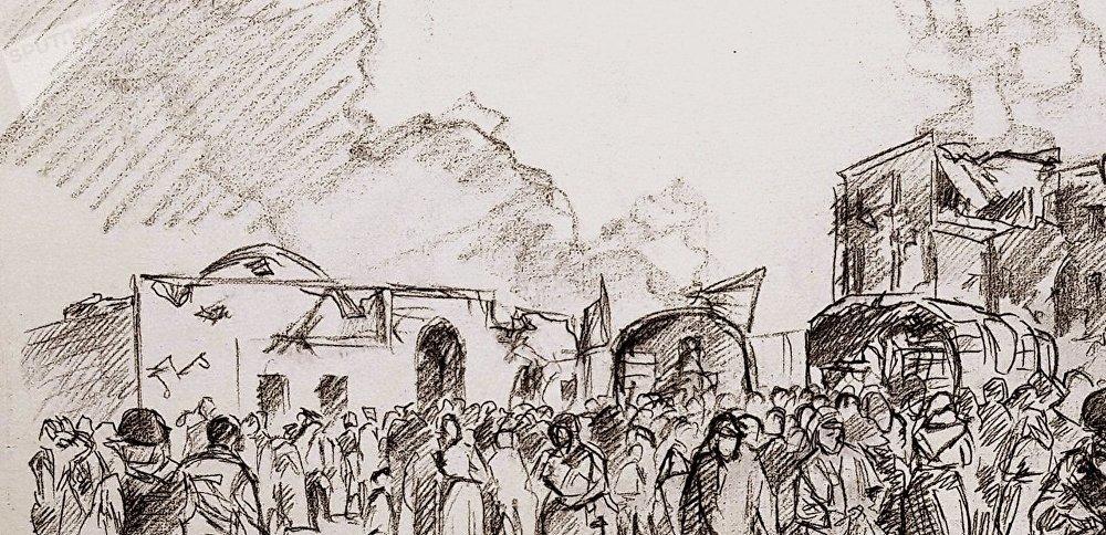 Fragment du futur tableau d'Augusto Ferrer-Dalmau