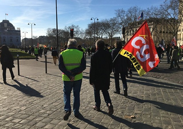 CGT et gilet jaune lors de la manifestation 17 février 2019
