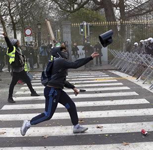 La manifestation des giles jaunes à Bruxelles le 8 décembre 2018