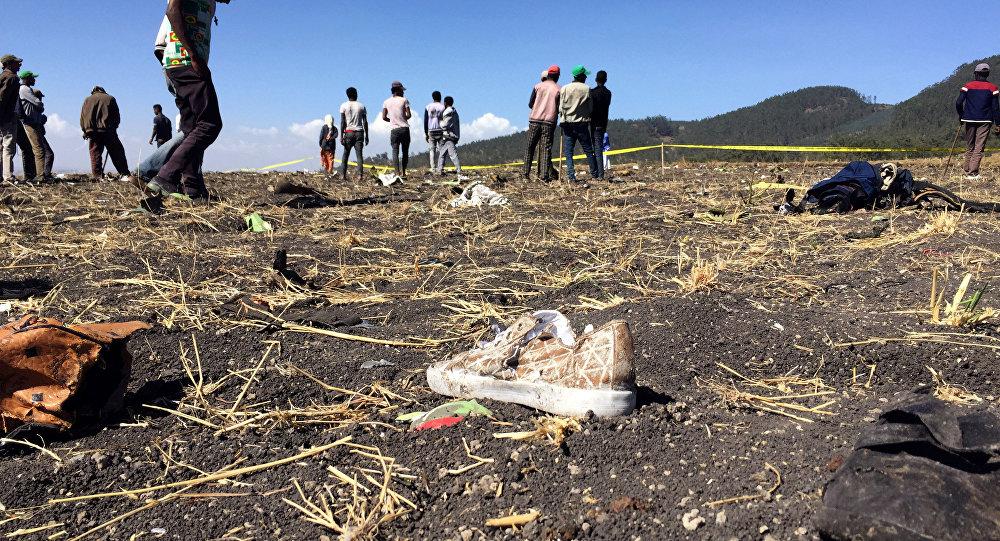 le lieu de crash de l'avion de l'Ethiopian Airlines