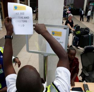 Stand d'informations sur le crash de l'avion de la compagnie Ethiopian Airlines au Kenya.