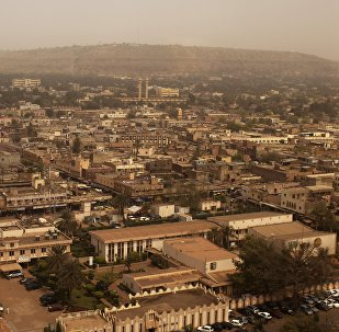 Bamako is seen during a harmattan dust storm, in this February 19, 2014 file photo.