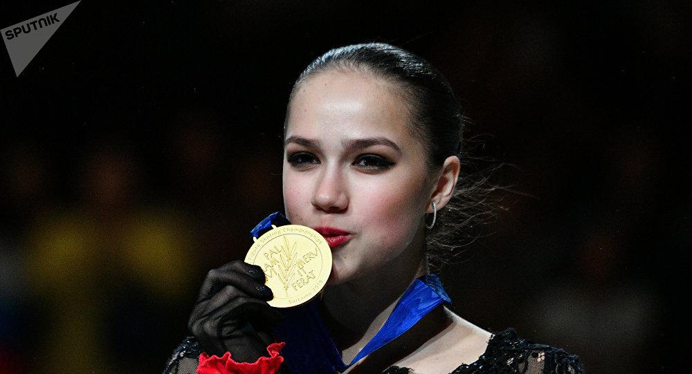 Alina Zagitova, championne du monde du patinage artistique, le 22 mars 2019 à Saitama