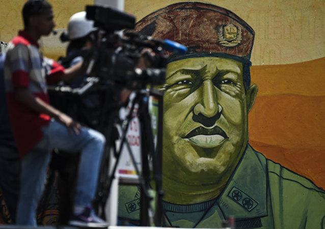 Graffiti de l'ancien président du Venezuela Hugo Chavez