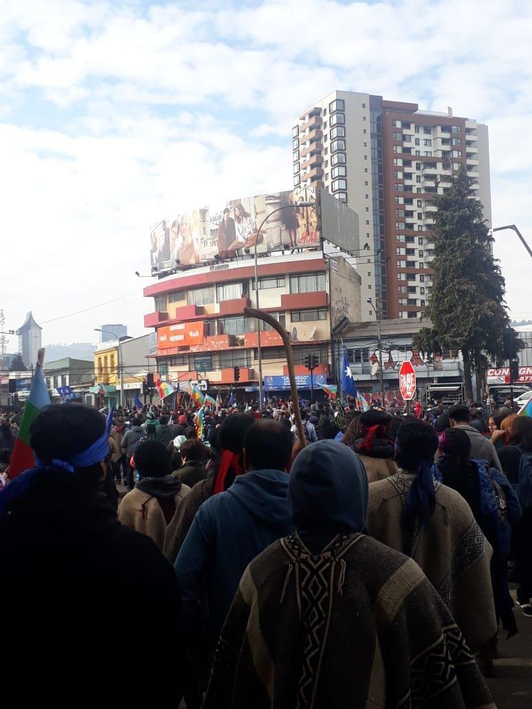Une manifestation de la communauté Mapuche à Temuco, au Chili
