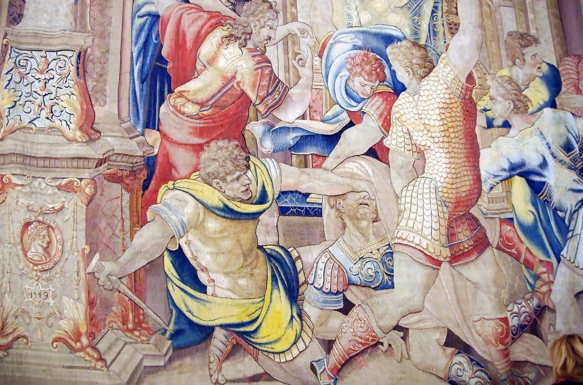 Détail de l'assassinat de César, une tapisserie des musées du Vatican