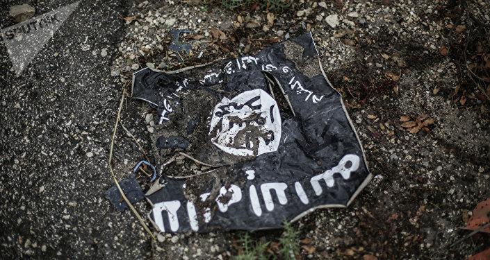 Drapeau du groupe terroriste Etat islamique (EI)