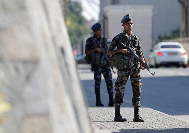 Un militaire lors des attentats au Sri Lanka