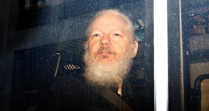 Julian Assange dans un véhicule de police après son arrestation à l'ambassade d'Equateur à Londres