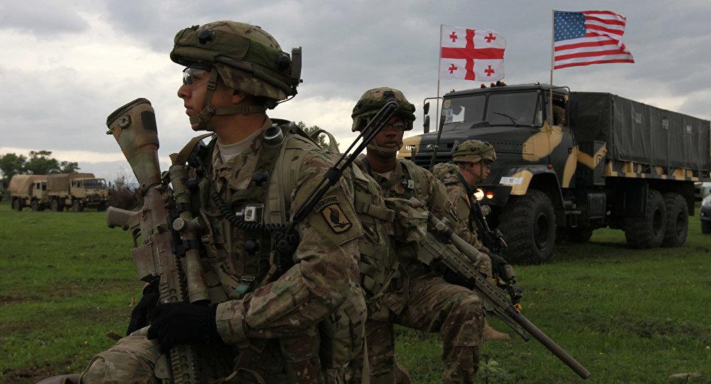 Des militares US lors des exercises américano-géorgiens Noble Partner 2015
