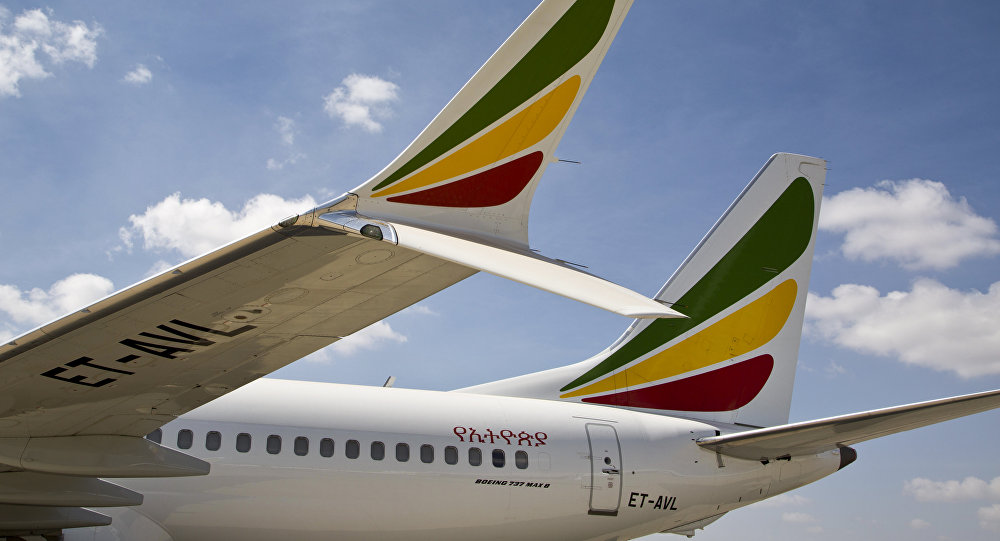 The winglet of an Ethiopian Airlines Boeing 737 Max 8 is seen as it sits grounded at Bole International Airport in Addis Ababa, Ethiopia Saturday, March 23, 2019
