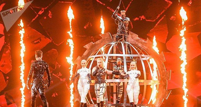 le groupe islandais Hatari à l'Eurovision 2019