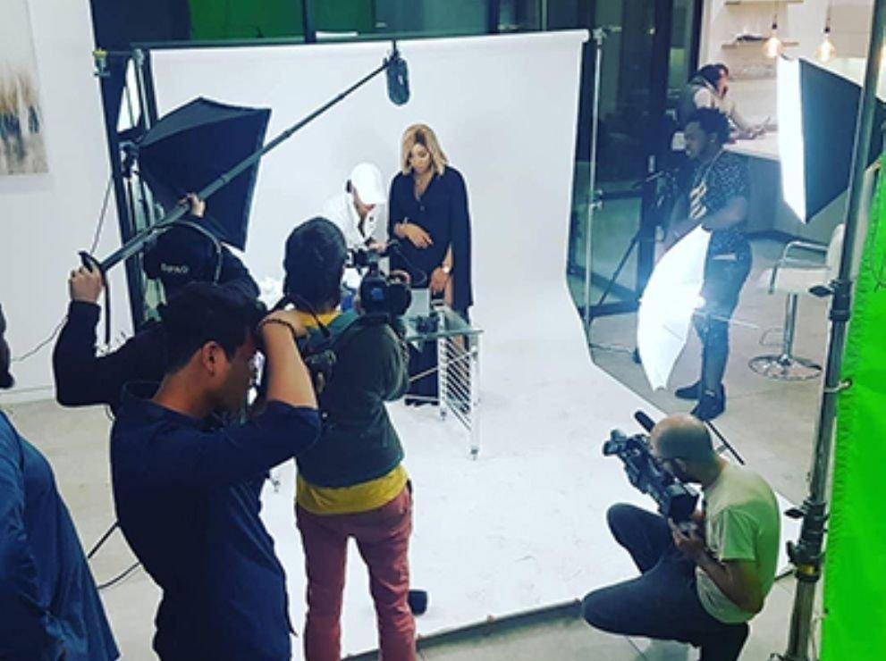 Une phase du tournage de l'émission Les perles de Berverly Hills en Californie (Etats unis) en avril 2019