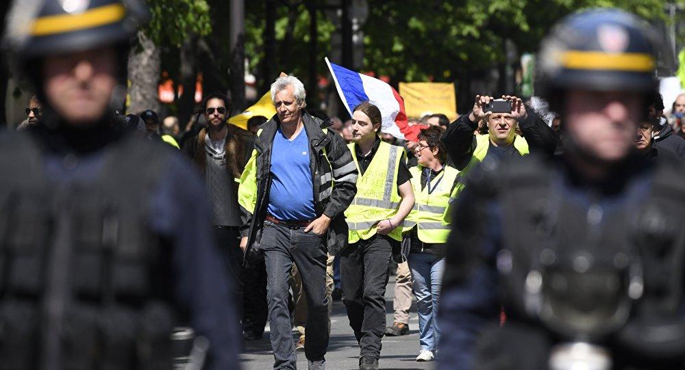 Une manifestaion des Gilets jaunes à Paris