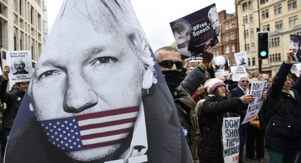 Des manifestants en soutien à Julian Assange